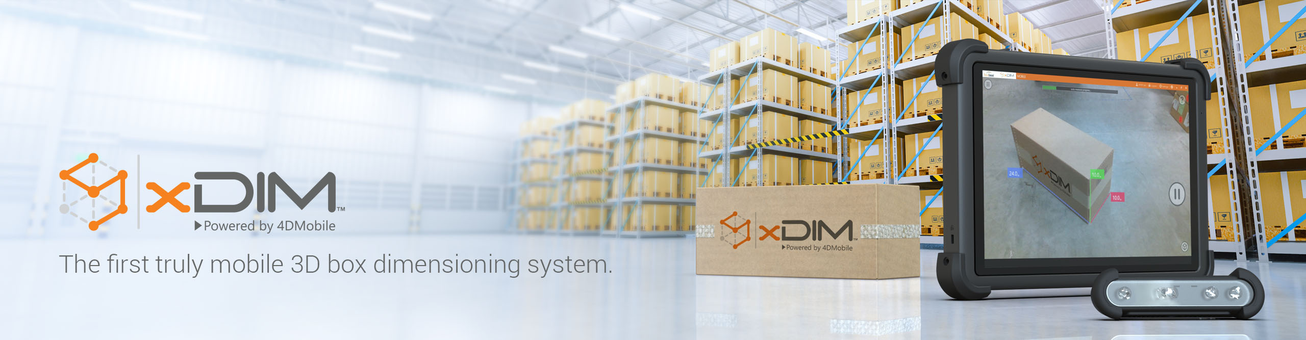 3D mobile box dimensioning system